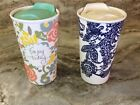 Tag Travel Mug With Tea Infuser. Enjoy Today Or Blue Abstract. 12 Ounce. New.
