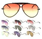 CLASSIC OUTDOORSMAN SHIELD AVIATOR SUNGLASSES ONE PIECE FLAT LENS TOP BROW BAR