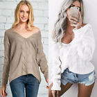 Women's Sexy Off Shoulder Long Sleeve V Neck Twist Knitted Pullover Sweater
