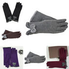 Women's Bow Fleece Thermal Lined Touch Screen Gloves Winter Warm Glove 5 Colors