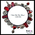 """DanLora Euro Charm Bracelet """"With All My Heart"""" I LOVE YOU - As Shown In Photos"""