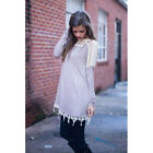 Women Long Sleeve Crew Neck Long Shirt Tunic Dress with Lace Inserts tops bluses
