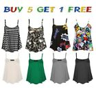 New Womens Plain Swing Vest Sleeveless Top Strappy Ladies Plus Size Flared CamiS