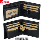 MENS LEATHER Wallet Slim GENUINE LEATHER BLACK LUXURY Trifold Purse Card Holder