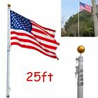 16/20/25ft Aluminum Telescoping Flagpole Kit Outdoor Gold Ball+America Flag HS