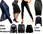 LADIES WOMENS WET LOOK LONG SLEEVE PVC LEATHER DRESS BODYCON TUNIC TOP SIZE 8-26