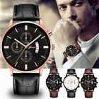 Men Luxury Sport Military Stainless Steel Dial Leather Band Battery Quartz Watch