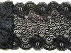 """Black Sparkle Shimmer Stretch French Scalloped Lace 5.75""""/14.5 cm  Trim"""