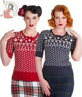 HELL BUNNY womens KATHERINE 50's XMAS christmas knit JUMPER NAVY BLUE RED