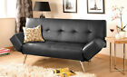Faux Leather Sofa Bed, Modern 2-3 Seater With Adjustable Arms in Black or Brown