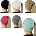 Ponytail Beanie Hat stretch knit hat Cable womens winter warm Winter