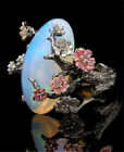 Women 925 Silver Ring White Fire Opal Plum Flower Vintage Party Gift Size 6-10