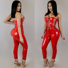 Sexy Womens Strapless Bandage Hollow Solid Color Bodycon Jumpsuit Clubwear