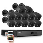 SANNCE 16CH 1080P HDMI 5in1 HD DVR 1500TVL IR CCTV Security Camera System APP US