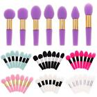 Reusable Small Silicone Different Head Handle Lip Eyeshadow Brushes Set Unique E