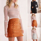 Fashion Women High Waist Lace Up Suede Leather Pocket Short Mini Skirt M-2XL