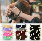 10PCs Women Girl Child Cosy High Elastic Pearl Hair Ring Hairband Hair Towel