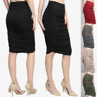 TheMogan Basic Comfort Elastic Waist Stretch Ruched Knee Length Pencil Skirt
