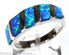 Quality Blue Fire Opal Inlay Solid .925 Sterling Silver Band Ring size 6 7 8 9