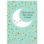 Bear Star Moon Canvas Poster Nursery Quote Art Print Baby Bedroom Decoration