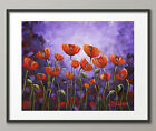Lg. Canvas and Fine Art Prints Red Poppies Flowers Garden Contemporary Purple