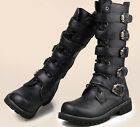 Mens Pointed toe Buckle strap Motorcycle combat Rding Knee High boots zip Shoes