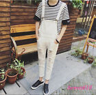 Fashion Ripped Men's Overalls Suspender Trousers Slim Fit Straight Pencil Pants