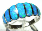High Quality Blue Fire Opal Inlay Genuine 925 Sterling Silver Band Ring sz 5.5-7