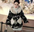 Fashion Womens Street Coat Horn Buttons Jacket Faux Lamb Wool Mixed Color Winter