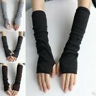 Women Lady Protection Arm Warmer Long Fingerless Stretchy Gloves Sleeves Mittens