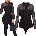 Women Casual Playsuit Sexy Long Sleeve Tulle Ladies Jumpsuit Leotard Catsuit TOP