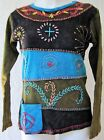 Hand Embroidered Crochet Patchwork Boho Hippie Long Sleeves Shirt, Nepal Style