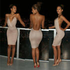 New Style Sexy Deep V-Neck Bandage Backless Party Evening Mini Pencil Dress