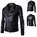 Black Mens PU Leather Jacket Fashion Slim Fit Biker Motorcycle Coat Outwear Tops