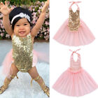 Infant Baby Girl Harness Gold Sequins Party Birthday Gift Princess skirt Dress