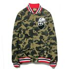 bape baseball jacket - Unisex Fashion Casual Camo Embroidery Bape A Bathing Ape Baseball Jacket Coat