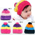 Baby Girls Boys Kids Rainbow Style Knitted Winter Warmer Beanie Hat Cap 4 Colors