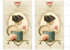 Furniture Glass Decal Image Transfer Vintage Pretty Lady Women Powder Puff Roses