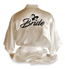 Personalised Love Heart Satin Wedding Robe Dressing Gown Bride Wear Gift - DE3