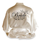 Personalised Doves Satin Wedding Robe Dressing Gown Bride Wear Gift Any Name -D2