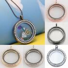 30mm Floating Charms Living Memory Full Crystal Glass Locket Pendant Necklace