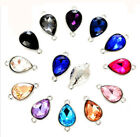 30Pcs Mixed Colors Crystal Glass Teardrop Connectors Links Various Sizes