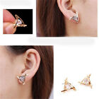 Fashion Women Triangle Crystal Rhinestone Ear Stud Silver Gold Earrings 1pair