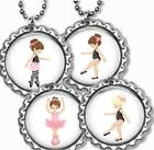 Ballerina Girl Dance Ballet Bottle Cap Necklace w/Chain Handcrafted Party Favors