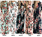 Women's Floral Print Round Neck Short Sleeve Long Maxi Casual Full Tunic Dress