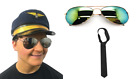 DELUXE ADULT UNISEX AIRLINE CAPTAIN SET AVIATOR AVIATION PILOT COSTUME ACCESSORY