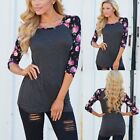 Women Floral Long Sleeve Shirt Pullover T-Shirt Ladies Casual Tops Blouse S-XL