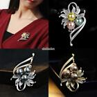 Women Imitation Pearl Rhinestone Flower with Leaves Brooch Clothes Decor EFFU
