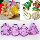 Christmas Tree Fondant Cake Biscuit Mold Cookie Plunger Cutters Set EFFU