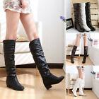 Sale Ladies Winter Warm Fuax Leather Flat Heels Pull On Knee High Long Boots S2